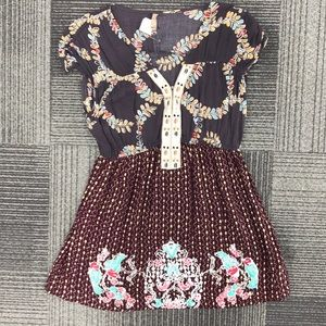 Free People mixed print short sleeve blouse size M